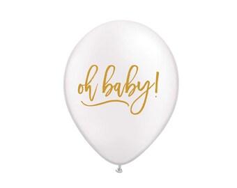 Oh Baby! Balloon, Oh Baby, Baby Shower, Baby Shower Decoration, Baby Shower Decor, Gender Reveal, Gender Reveal Balloons, Baby Boy, White