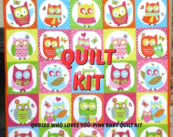 WHO LOVES YOU Baby Quilt Kit-Owl Print, Baby Girl, Pink, Aqua, Orange, Yellow, Green by Michelle Scott for Northcott Fabrics
