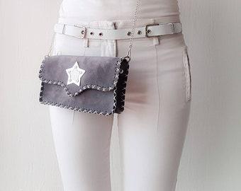 Leather handbag. Gray bag. Shoulder bag. Grey shoulder bag. Boho chic bag. Chain bag. Handbag.