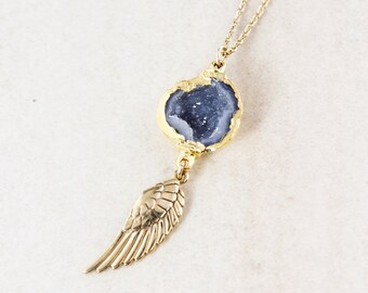 50% OFF SALE - Gold Black Druzy & Angel Wing Necklace - 14K Gold Filled