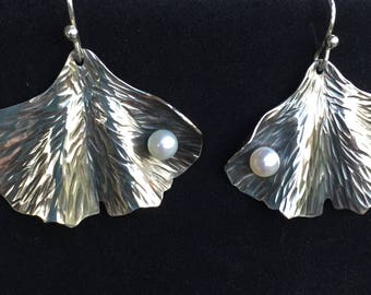 Sterling Silver Ginkgo Leaf Earrings Hand Crafted Artisan Jewelry Silver Smithed