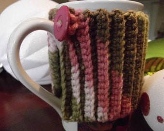 Crochet Mug Cozy-Pink/Green/White Travel cup cozy