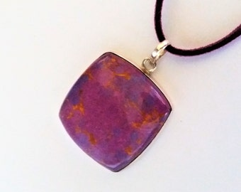 Sterling Silver Turquoise Pendant, Cushion/TV Shape Purple on Faux Suede Cord