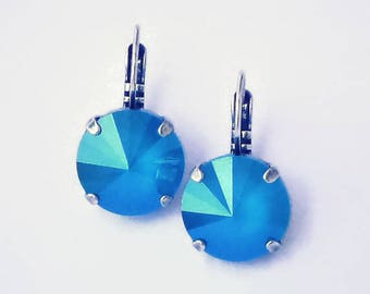 Swarovski crystal azure blue 14mm rivoli leverback drop earrings,antique silver setting,lacquer finish crystal