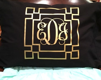 Monogrammed Greek Key Pillowcases