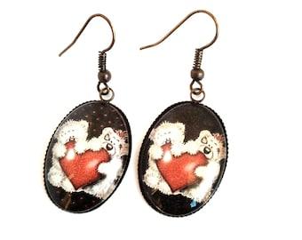 Cabochon 18 * 25 mm glass heart Teddy bear earrings