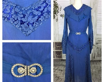 Original 1930s Blue, Lace & Georgette Evening Gown / Dress Diamante Belt
