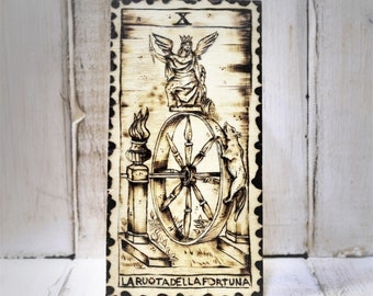 The Wheel, a tarot on wood with pyrography