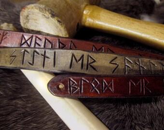 Runic leather snap bracelet (Viking runescript sayings, names, or runes)