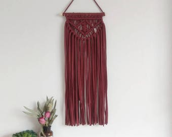 Long layered Macrame wall hanging in conker