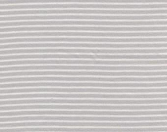 Grey and white striped organic cotton interlock Jersey