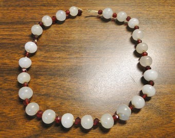 "Lovely Vintage Moonstone & Garnet Necklace - 14 1/4"" Long - Estate Piece - Needs Some Attention - Great Find!"