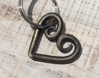 Hand forged heart keychain