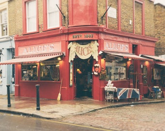 London Print, Notting Hill, Alice's, Antique Shop, Portobello Road, London Decor, British, London Photography, London Wall Art
