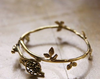 Gold Bird on Branch HandCuff,Charm HandCuff,Brass HandCuff,Brass Bangle,Everyday HandCuff,Everyday Jewelry,Birds Bangle,Animal with Nature
