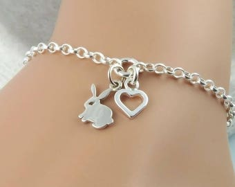 Bunny Bracelet - Sterling Silver Rabbit and Heart Bracelet - bunny lover jewellery