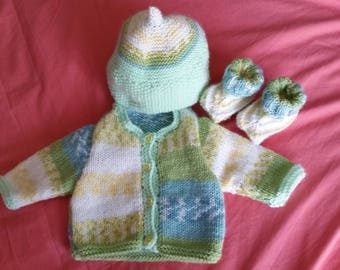 Set Cardigan booties and hat newborn girl