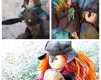 Knight Waldorf Doll Boy or Girl Steiner Inspired With or without Hobby Horse