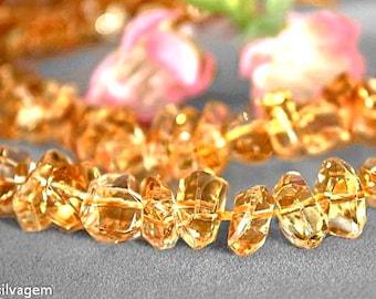 5 ULTRA FINE Natural Color Citrine Faceted Freeform Beads Laser Cut Merchants Gemstone 906