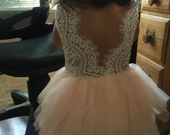 White Lace Flower Girl Dress, Infant Blush Pink Tulle Wedding dress, White Wedding, Tutu, Boho Chic, Country, Couture, Pearl Bead Detail