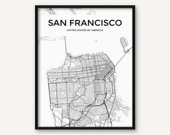 San Francisco Map Print, San Francisco Print, San Francisco Wall Art, Black and White San Francisco Poster, Street Map, City Map Print