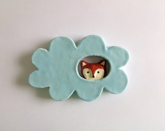 Fox in a Cloud, Ceramic Wall Hanging