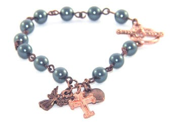 Recovery 12 Step Bracelet Sobriety Gift, Blue Pearls & Copper Charms
