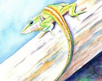 Eidechse Original Aquarell-Malerei von Kauai Hawaii Anole Chamäleon Hawaiian Kinder Kunst Tiermalerei Hawaiian Dekor gecko