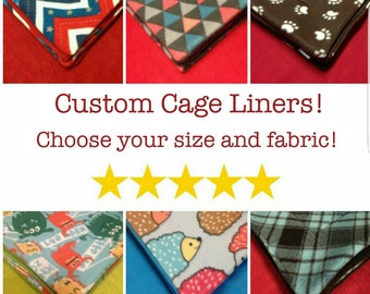 Custom Cage Liners with Absorbent Layer! Pre Wicked, Midwest, C&C, 1x2, 2x2, 2x3, 2x4, 2x5, 2x6, For guinea pigs, hedgehogs, and other pets!
