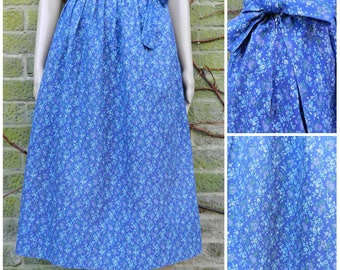 60s cotton high waist circle skirt in navy blue with ditsy calico violet + wedgewood blue floral print U.K. 8 - 10 S M