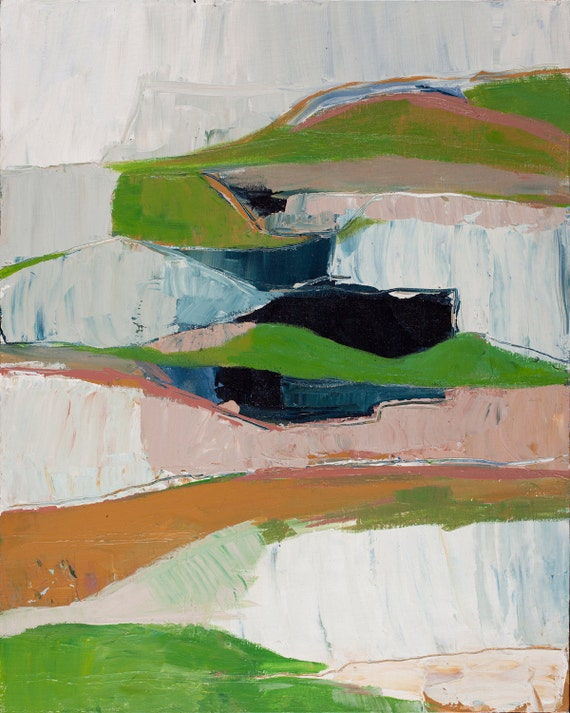 Pink and Green Modern Landscape Abstract Print