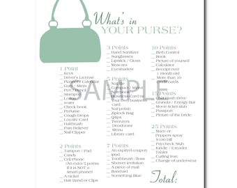 Jade Green Bridal Shower Game: What's in Your Purse?