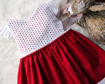 White and Red Dress with Angel Sleeves & Eyelet Bodice- 1T