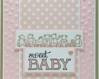 Handmade Baby Shower Card, Stampin Up Card, Baby Girl Shower Card, Teddy Bear Card, Baby Greeting Card, Embossed Card