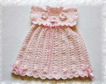 Pink Birthday Dress, dress newborn,  dress girl, dresses baby, gift or birthday, Crocheted pink dress baby,, Baby Clothes, baby first outfit