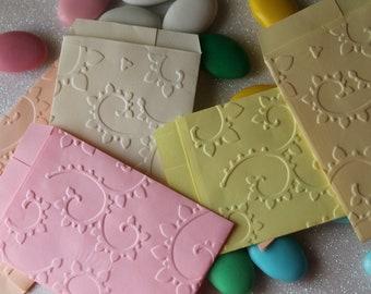 Groffati paper Mini bags/Mini paper bags RAMAGE embossed 6 x 8 cm Pastel colors