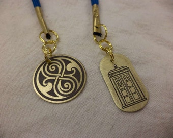 Dr. Who inspired etched brass and paracord bookmark