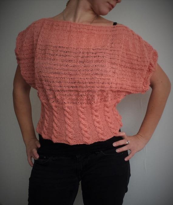 Kurze Ärmel stricken Pullover Farbe Lachs Hand stricken