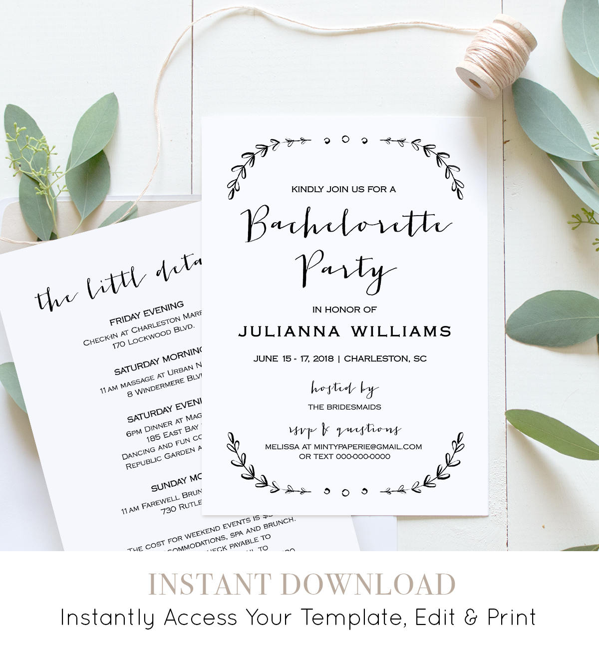 Bachelorette Party Invitation Template Printable Rustic - Party invitation template: bachelorette party itinerary template