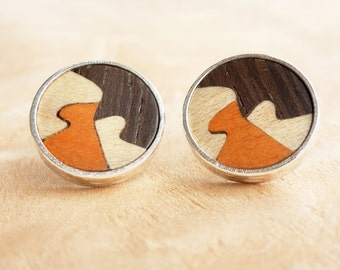 Silver earrings, Round wood earrings, Wood post earrings, Wooden stud earrings, Wooden earrings  Wooden jewelry Jewelry women Casual jewelry