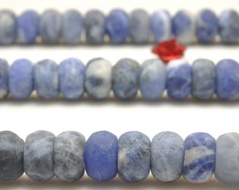 74 pcs of Natural Blue Sodalite Stone matte rondelle in 5x8mm (07113#)