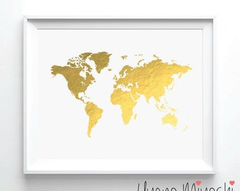 World Map I Gold Foil Print, Gold Print, Map Custom Print in Gold, Illustration Art Print, Map of the World Borderless Gold Foil Art Print