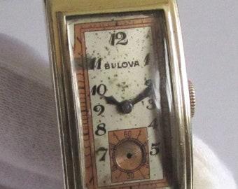 Rare Antique Swiss Gold-plated long men's wrist watch - BULOVA PRESIDENT 1930's