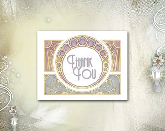Art Nouveau Thank You Card / Mucha / Gatsby Wedding / Art Deco / Lavender Purple Gold / Matching Invitation / Instant Download, Self Print