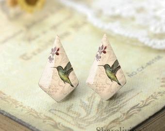 6pcs (3 pairs) Handmade Geometric Resin Hummingbird Charm / Pendant, Perfect for Earring - PRA04A