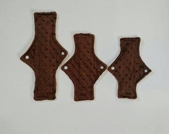 READY TO SHIP Cloth pad starter set, 3pc set, minky pads, light, moderate, super, brown, yellow, fleece backed, soft, canadian pads