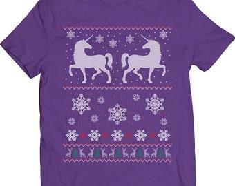 Funny Unicorns Ugly Christmas Sweater Family Christmas Tshirt Gift T-shirt Tee Shirt Christmas Mens Holiday Shirt Santa Claus Unicorn Party