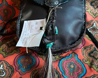 Shaman bag,medicine bag,native american bag,hip bag,belt bag,hip pouch,indian bag with silver concho on a bleed knot strap with horsehair