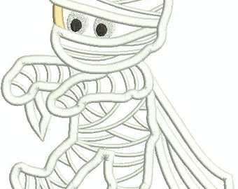 Cute Mummy Embroidery Design,  Halloween Mummy, Machine Embroidery Design 338