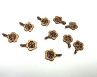 Flower charm, copper metal, 15mm x 11mm, set of 10 Pcs